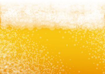 Beer bubbles background with realistic white foam.  Cool beverage for restaurant menu design, banners and flyers.  Yellow horizontal beer bubbles backdrop. Cold glass of ale for brewery design.