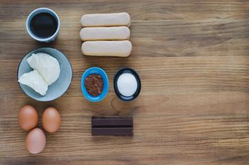 Ingredients for pastry, tiramisu. Flat lay. Top view.