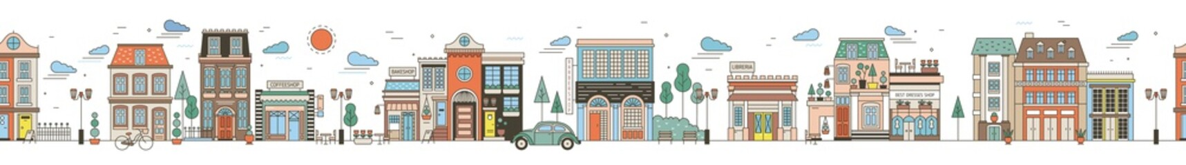 Fototapete - Seamless horizontal urban landscape with city street. Cityscape with beautiful buildings, residential houses, shops, park, driving car. Modern colorful vector illustration in line art style.