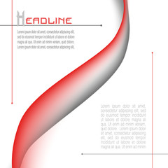 Layout with abstract waveform in red and gray. Minimalistic vector background. Modern template for books, brochures, posters, leaflet, flyers, presentations, infographic, web pages. EPS10 illustration