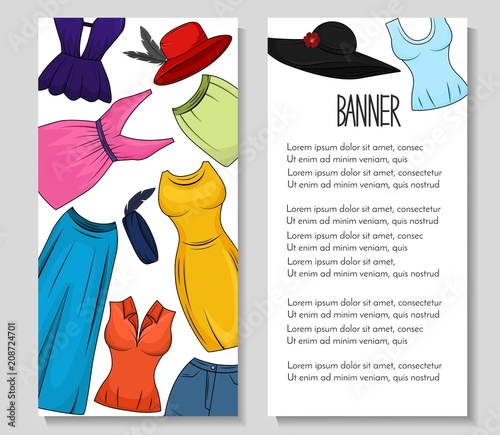 Two banners with clothing and accesories for women  Boutique, shop