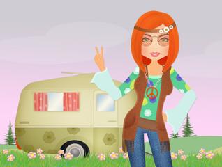 illustration of hippy girl