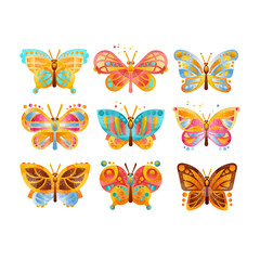 Beautiful colorful butterflies set vector Illustrations on a white background