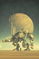 giant robot pilot and city