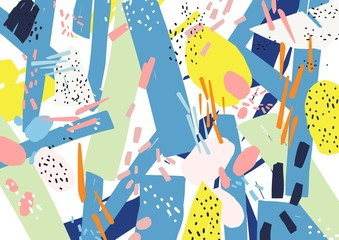 Creative horizontal artistic backdrop with abstract shapes, patches and speckles of vivid colors on white background. Bright colored decorative vector illustration in cool contemporary art style.