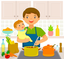 Young man cooking in the kitchen while holding a baby