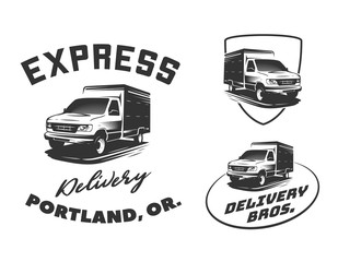 Set of van delivery logo, emblems and badges isolated on white background.