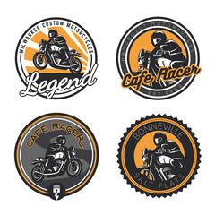 Set of retro motorcycle round emblems and badges isolated on white background.