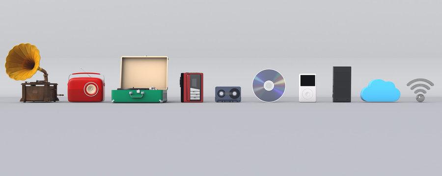 3D illustration of music player evolution