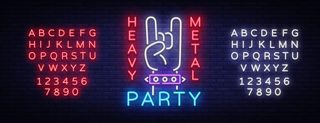 Heavy Metal Party Neon Sign Vector. Rock music logo, night neon signboard, design element invitation to Rock party, concert, festival, night advertising, light banner. Vector. Editing text neon sign