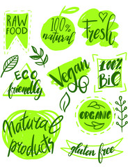 Organic food, farm fresh and natural product labels and badges collection for food market, ecommerce, organic products promotion, healthy life and premium quality food and drink.