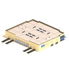 Flat 3d model isometric warehouse building illustration isolated on white background.