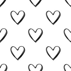 Valentine's Day seamless pattern with black watercolor heart outlines on white background