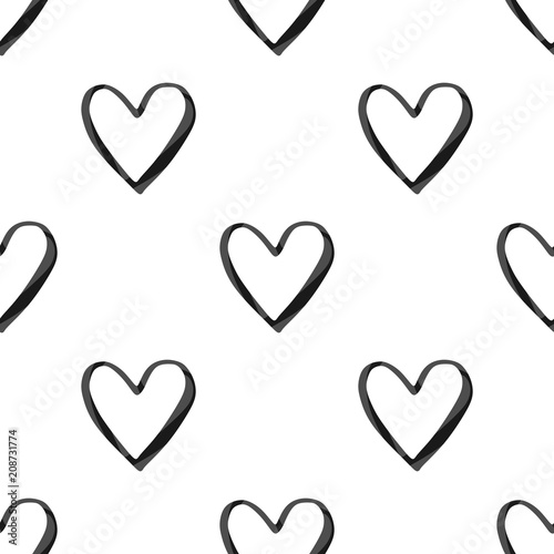 Valentine S Day Seamless Pattern With Black Watercolor Heart
