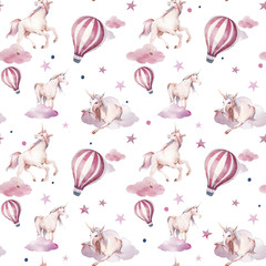 Watercolor unicorn, clouds, polka dots and hot air balloon seamless pattern. Hand painted fairytale texture on white background. Cartoon baby wallpaper design