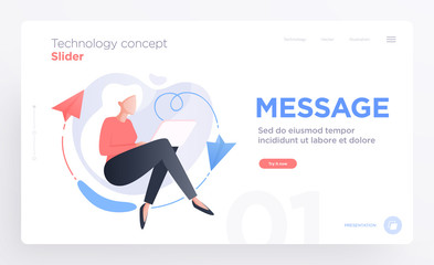 Presentation slide templates or hero banner images for websites, or apps. ommunication technology concepts. Modern flat style