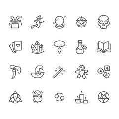 Magic flat line icons. Witch flying flying on broomstick, fortune teller, magician, wizard wand illustration. Wicca, voodoo. Thin signs for witchcraft store. Pixel perfect 48x48. Editable Strokes.