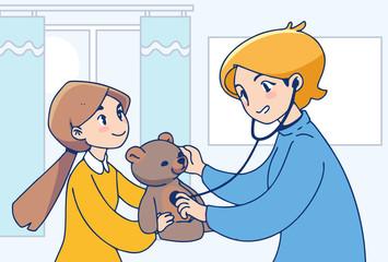 Medical service concept illustration. Little girl and nurse illustration