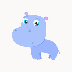 Cute hippo sticker vector illustration. Flat design.
