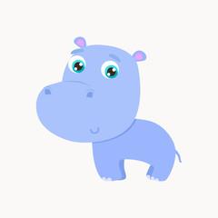Cute hippo sticker vector illustration. Flat design.
