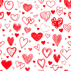 Seamless background with colored hearts. Colorful wallpaper. Hand drawn many big and small love signs. Line art