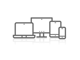 Device Icons vector illustration of responsive design for presentation on white background