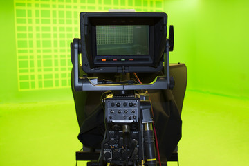 LCD display screen on a High Definition TV camera in a green screen studio..