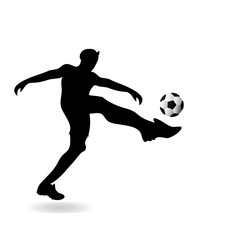 Player football black Silhouette sport drawing isolated white background. Vector