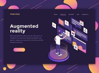 Flat Modern design of website template - Augmented reality