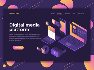Flat Modern design of website template - Digital media platform