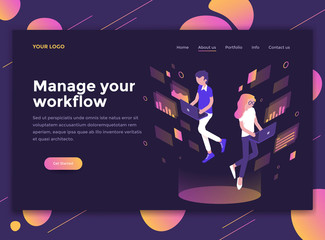 Flat Modern design of website template - Manage your workflow