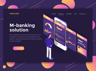 Flat Modern design of website template - M-banking