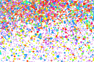 Wallpaper with multicolored confetti. Pattern for design. Background with glitters on white. Print for polygraphy, posters, banners and textiles. Greeting cards