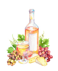 Wine glass with vine leaves, grape berries, cheese. Watercolor