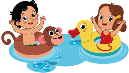 Two little kids having fun in the water. Outdoor activity. Isolated on white. Vector illustration.