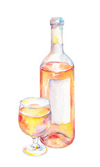 Wine glass, bottle with pink wine. Watercolor