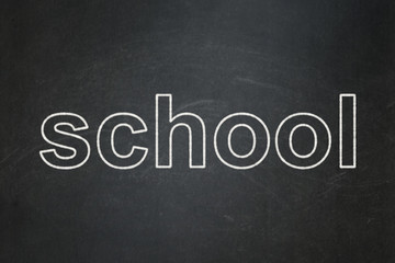 Learning concept: text School on Black chalkboard background