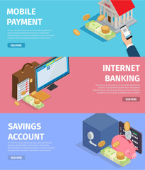Wall Mural - Mobile Payment. Internet Banking. Savings Account