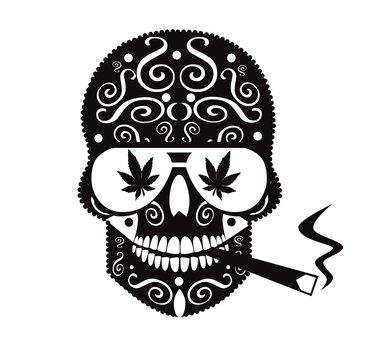 Marijuana skull icon with sunglasses