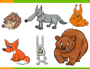 wild animal cartoon characters set