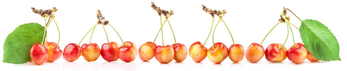 Rainier cherries isolated on white background.