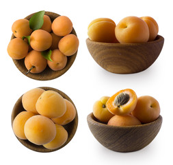 Set of apricots isolated on white background. Ripe apricots with copy space for text. Top view. Apricots isolated on white. Bowl with apricots isolated on white background.