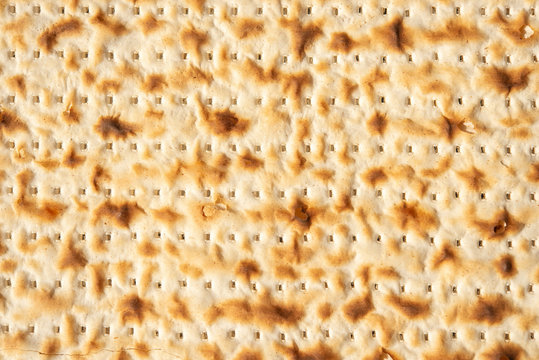 Matzah or flatbread closeup. Backgroun, food or texture.