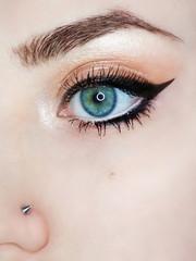 Eye make-up eyebrow eyeliner lash cosmetic swatch fashion macro photo