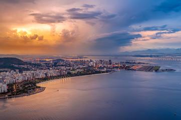 Sunset aerial view of Centro (downtown of Rio de Janeiro), Flamengo, Gloria and Guanabara bay Rio de Janeiro, Brazil