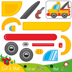 Wrecker truck. Repair transport. Education paper game for preshool children. Vector illustration.