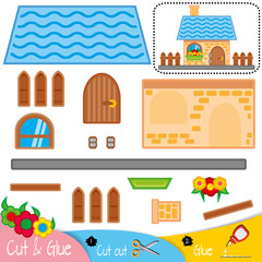 The house has a blue roof and a brown fence. Education paper game for preshool children. Vector illustration.