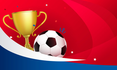 Soccer template vector illustration. Golden trophy cup with football ball on red background.