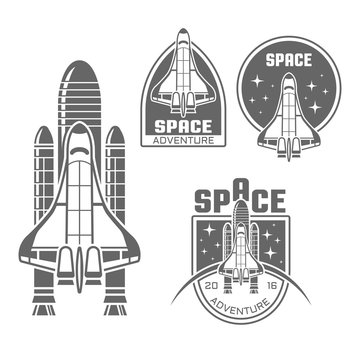 Space shuttle design elements and badges