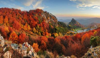 Fotorolgordijn Chocoladebruin Autumn panorama landscape at sunset in Slovakia, Vrsatec